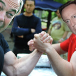 nigel and dave arm wrestle